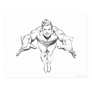 Aquaman Lunging Forward BW Postcard