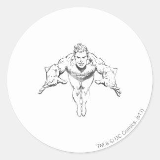 Aquaman Lunging Forward BW Round Sticker