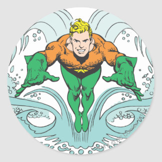 Aquaman Lunging Forward Classic Round Sticker