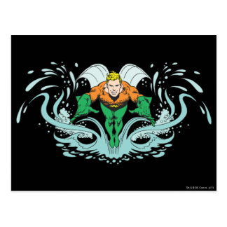 Aquaman Lunging Forward Postcard