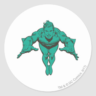 Aquaman Lunging Forward - Teal Round Sticker