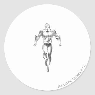 Aquaman Runs BW Round Sticker