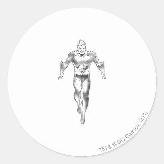 Aquaman Runs BW Round Stickers