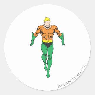 Aquaman Runs Round Stickers