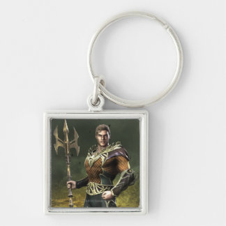 Aquaman Silver-Colored Square Keychain