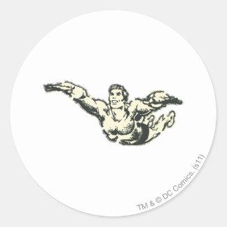 Aquaman Soars BW Round Sticker