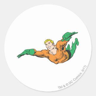 Aquaman Soars Round Sticker