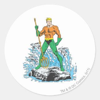 Aquaman Stands with Pitchfork Round Sticker
