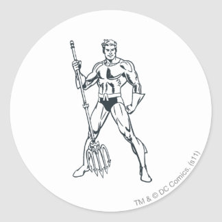 Aquaman with Pitchfork BW Round Sticker