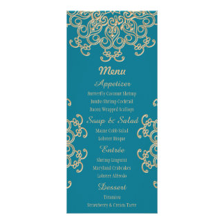 Aquamarine and Gold Indian Style Menu Cards