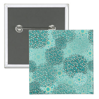 Aquamarine and Mint Flower Burst 2 Inch Square Button