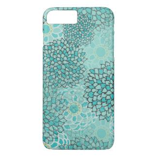 Aquamarine and Mint Flower Burst Design iPhone 7 Plus Case
