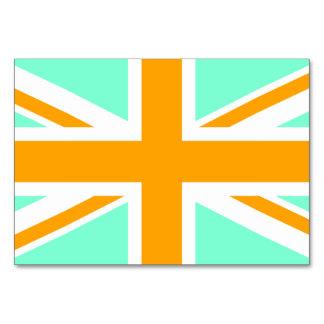Aquamarine and Orange Union Jack Table Cards
