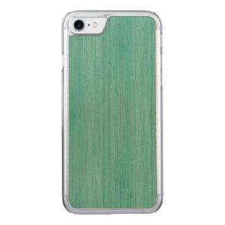 Aquamarine Bamboo Wood Grain Look Carved iPhone 7 Case