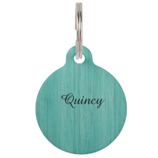 Aquamarine Bamboo Wood Grain Look Pet Name Tag