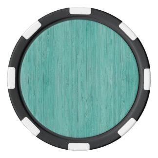 Aquamarine Bamboo Wood Grain Look Poker Chip Set