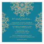 AQUAMARINE BLUE AND GOLD INDIAN INSPIRED BIRTHDAY PERSONALIZED INVITES