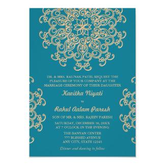 AQUAMARINE BLUE AND GOLD INDIAN STYLE WEDDING CARD
