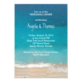 Aquamarine Blue Ocean Rehearsal Dinner Invitations