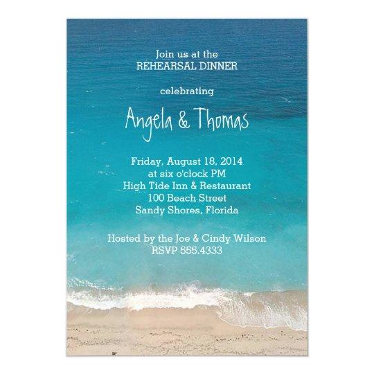 Aquamarine Blue Ocean Rehearsal Dinner Invitations