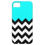 Aquamarine-Blue-On-Black-&-White-Zigzag-Pattern iPhone 5 Cases