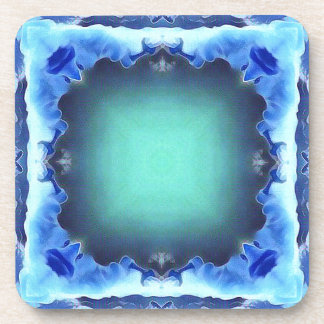 Aquamarine Blue Personalizable Framed Pattern Coaster