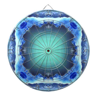 Aquamarine Blue Personalizable Framed Pattern Dartboard
