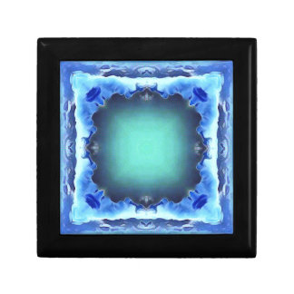Aquamarine Blue Personalizable Framed Pattern Gift Box