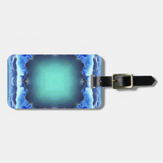 Aquamarine Blue Personalizable Framed Pattern Luggage Tag