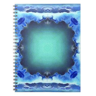 Aquamarine Blue Personalizable Framed Pattern Spiral Note Book