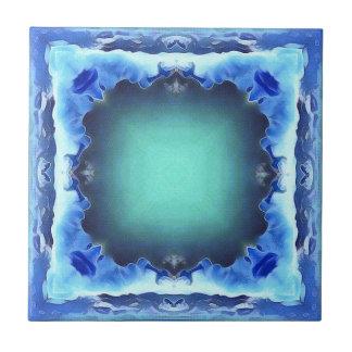 Aquamarine Blue Personalizable Framed Pattern Tile
