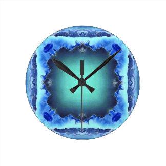 Aquamarine Blue Personalizable Framed Pattern Wallclock