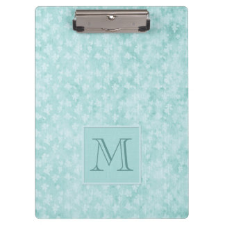 Aquamarine Blue Shabby Chic Floral Clipboard