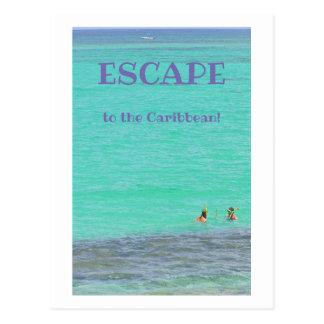 AQUAMARINE CARIBBEAN/TWO SNORKELERS/ESCAPE TO CARI POSTCARD