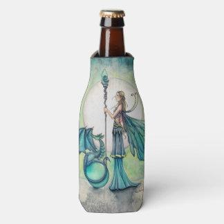 Aquamarine Dragon Fantasy Fairy Art Bottle Cooler