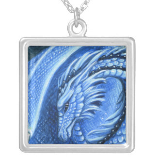 Aquamarine Dragon Square Necklace