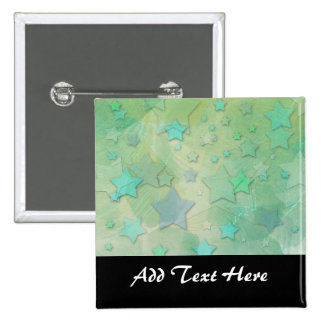 Aquamarine Fantasy Stars 2 Inch Square Button