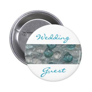 Aquamarine Gems Wedding Guest Badge Pin