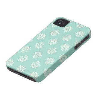 aquamarine green and cream intricate damask Case-Mate iPhone 4 cases