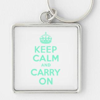 Aquamarine Keep Calm and Carry On Keychain