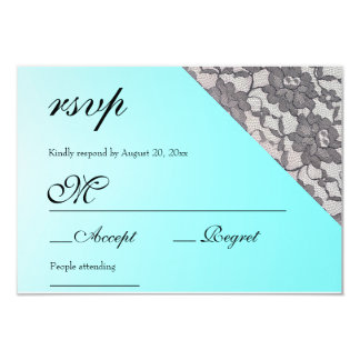 Aquamarine Lace Elegant RSVP Card