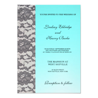 Aquamarine Lace Elegant Wedding Invitation