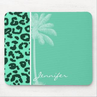 Aquamarine Leopard Animal Print; Palm Mouse Pad