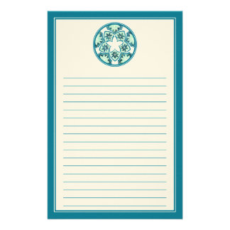 Aquamarine Lined  Floral Tiles Stationery