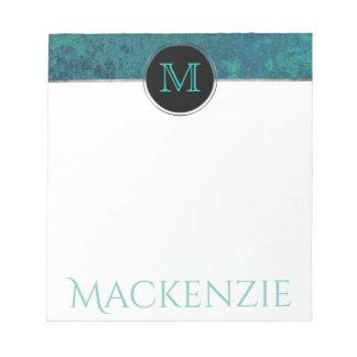 Aquamarine Office | Monogram Chic Blue Green Teal Notepad