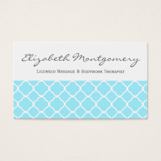 Aquamarine Quatrefoil Modern Appointment Business Business Card