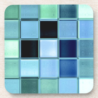 Aquamarine sea glass coaster set with cork back