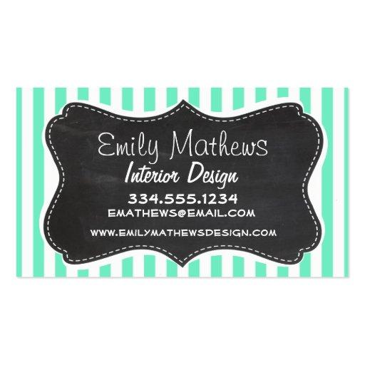 Aquamarine Seafoam Green Stripes; Chalkboard look Business Card