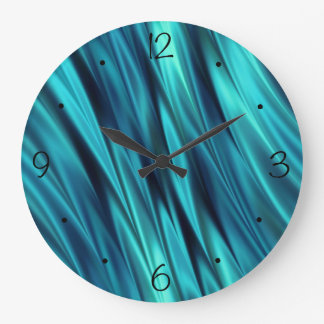 Aquamarine silky waves large clock
