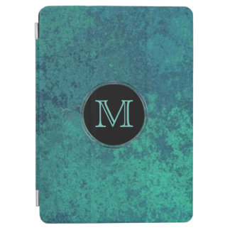 Aquamarine Tech | Monogram Chic Blue Green Shimmer iPad Air Cover